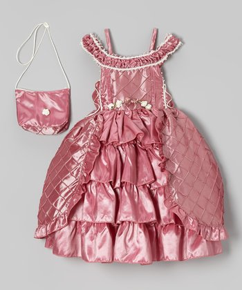 Dusty Rose Tiered Dress & Purse - Toddler & Girls