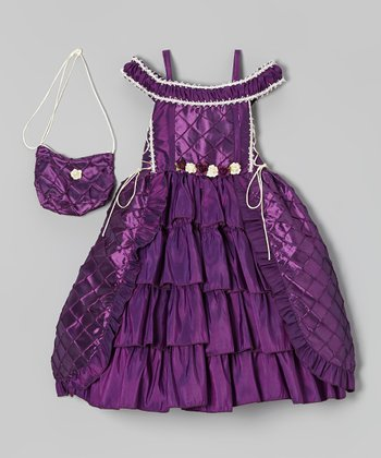 Purple Tiered Dress & Purse - Toddler & Girls