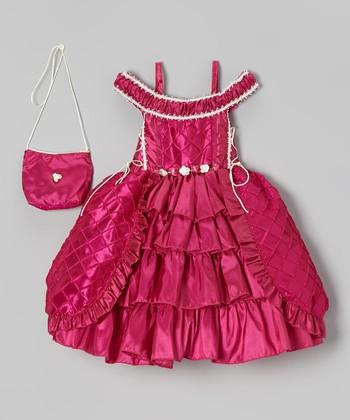 Fuchsia Tiered Dress & Purse - Toddler & Girls