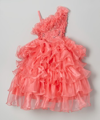 Coral Tiered Ruffle Asymmetrical Dress - Toddler & Girls