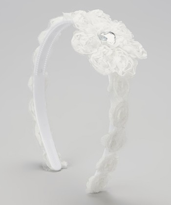 White Rosette Gem Headband