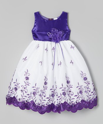 Purple & White Floral Embroidered Dress - Toddler & Girls