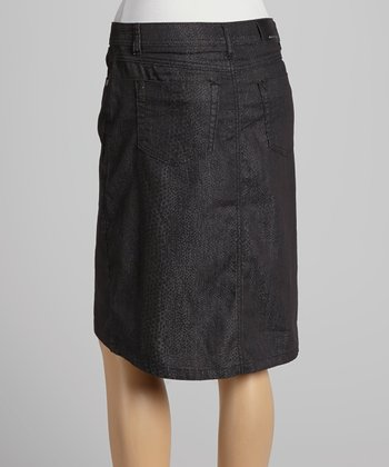 Black Leopard Denim Skirt