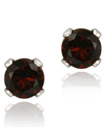 Sterling Silver & Red Garnet Stud Earrings