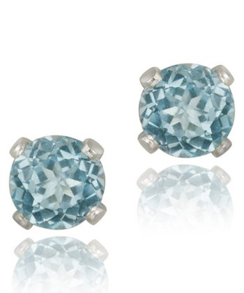 Sterling Silver & Swiss Blue Topaz Stud Earrings