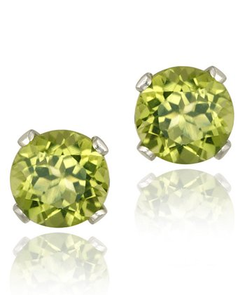 Sterling Silver & Green Peridot Round Stud Earrings