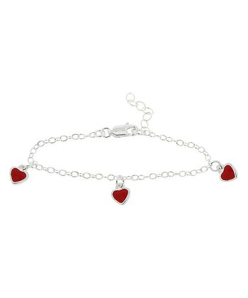 Sterling Silver & Red Heart Charm Bracelet