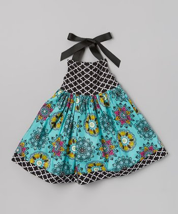 Teal & Black Quartrefoil Halter Dress - Infant, Toddler & Girls