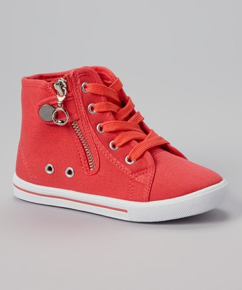Coral Star Zipper Hi-Top Sneaker