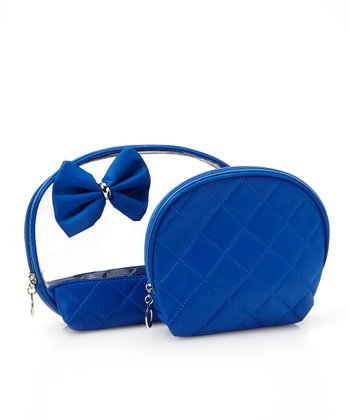 Royal Blue Bow Cosmetic Bag Set