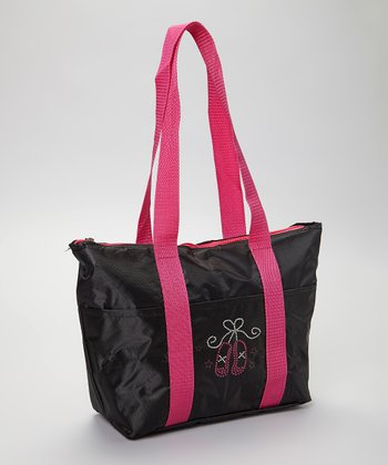 Black & Pink Ballet Slipper 14'' Lunch Tote Bag