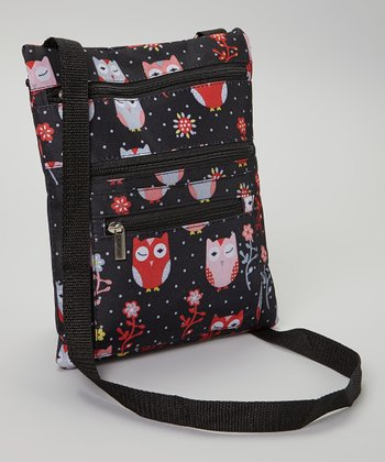 Black & Red Owl iPad Messenger Bag