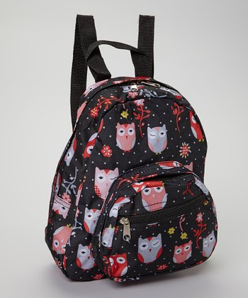 Black & Red Owl Backpack