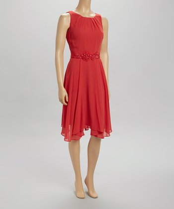 Umbria Red Pleated Belted Sleeveless Dress