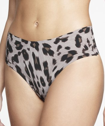 Gray Jaguar Print Invisible Thong - Women