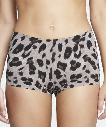 Gray Jaguar Print Invisible Boyshorts - Women