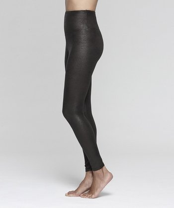 Black Faux Leather Shaper Legging - Women