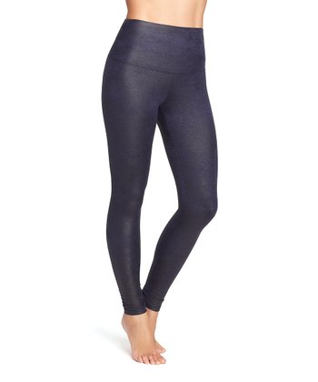 Midnight Blue Faux Leather Shaper Legging - Women