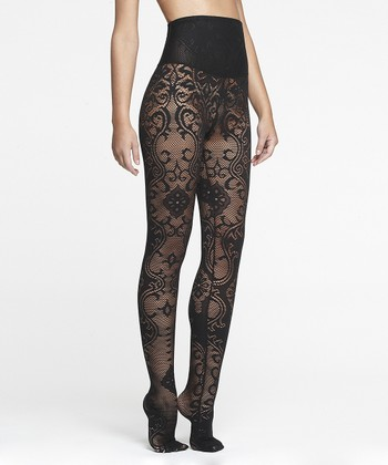 Black Lace Shaper Tights - Women