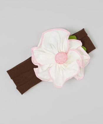 Pink & White Flower Headband