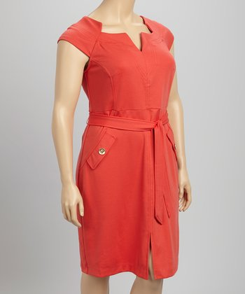Coral Cap-Sleeve Dress - Plus