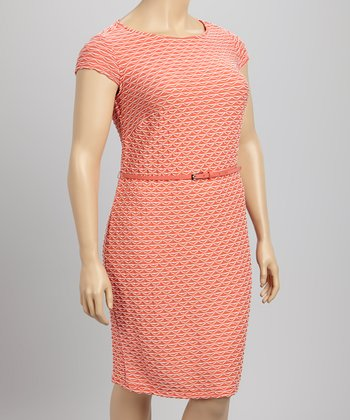 Coral & Ivory Belted Dress - Plus