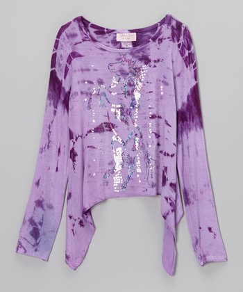Purple Sequin Pony Tie-Dye Sidetail Top