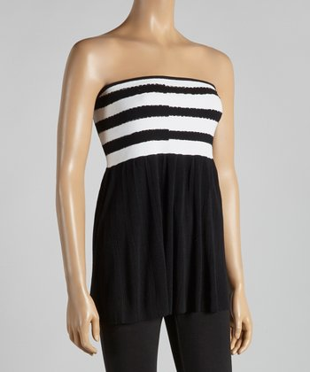 Black & White Stripe Beaded Strapless Top