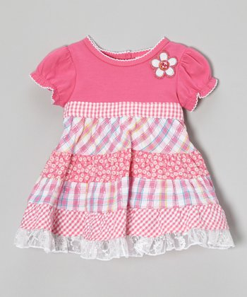Pink Gingham Patchwork Ruffle Dress - Infant, Toddler & Girls