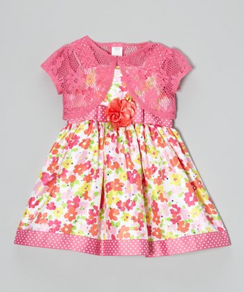 Pink & Orange Floral Dress & Shrug - Toddler
