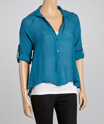 Teal Hi-Low Long-Sleeve Button-Up