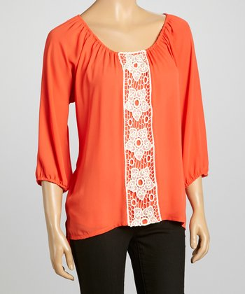 Orange Floral Crochet-Embellished Top