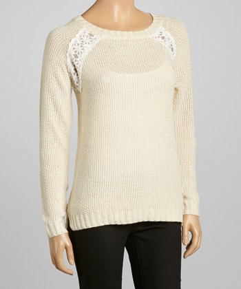 Ivory Lace-Embellished Sweater