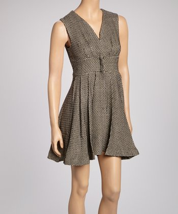 Black Tweed Empire-Waist Dress