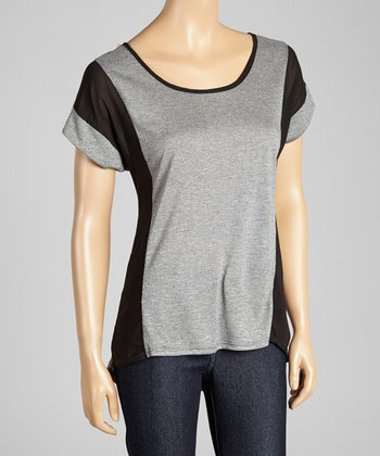 Gray & Black Scoop Neck Top