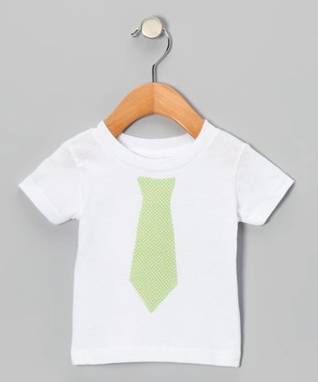 White & Green Polka Dot Tie Tee - Infant, Toddler & Boys