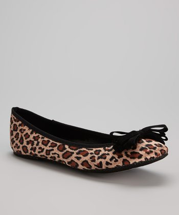 Tan & Brown Satin Leopard Flat