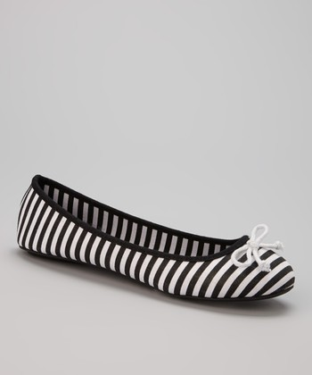Black & White Canvas Stripe Flat