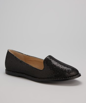 Black Glitter Loafer Flat