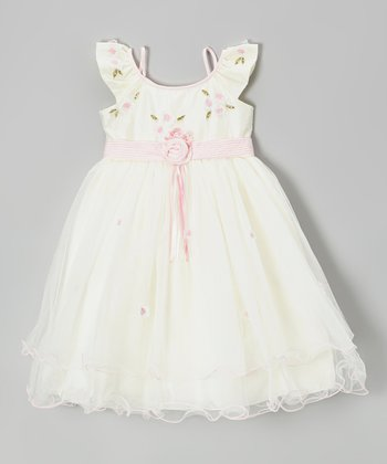 Ivory & Pink Rosette Angel-Sleeve Dress - Girls