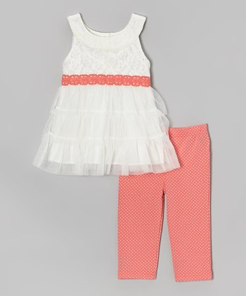 White & Orange Lace Yoke Tunic & Capri Leggings - Toddler