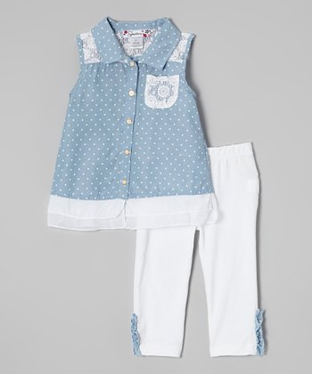 Light Blue Button-Up & White Capri Leggings - Toddler