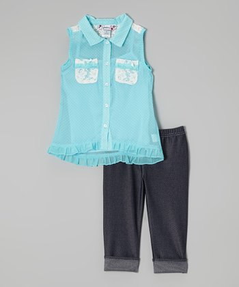 Blue Ruffle Button-Up & Black Capri Leggings - Girls