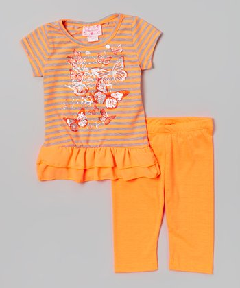 Orange Butterfly Ruffle Tunic & Leggings - Toddler & Girls