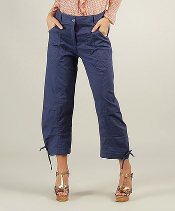 Blue Cargo Capri Pants