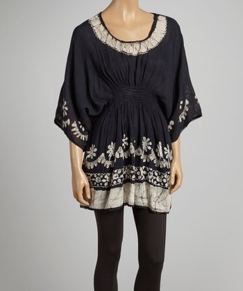 Black Dyed Scoop Neck Tunic