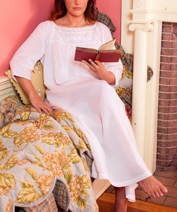 White Smocked Simplicity Nightgown - Plus
