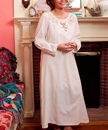 Ecru Floral Embroidered Portrait Nightgown - Plus