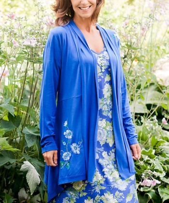 Royal Blue Floral Embroidered Tasha Open Cardigan - Plus