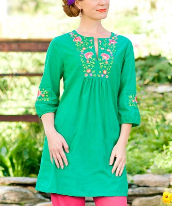 Green Floral Smocked Genie Tunic - Plus